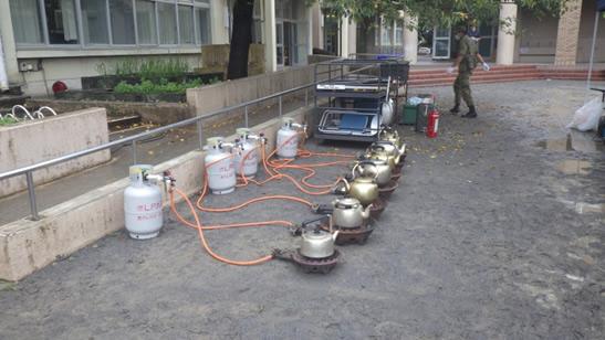 LPガス協会の資器材を使い、炊出し訓練へ参加しました。